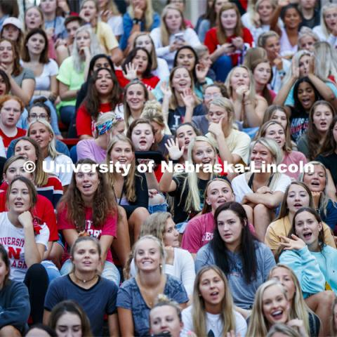 Sorority Recruitment welcome at Ed Weir Track. August 18, 2019. Photo by Craig Chandler / University Communication