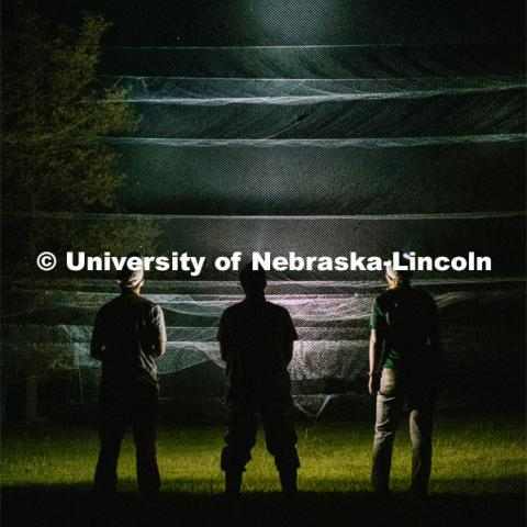Nebraska graduate student Christopher Fill is studying the patterns of bats living at Homestead National Monument near Beatrice. Ben, Chris and Anna (From University of Idaho) standing in front of bat nets using their headlamps to illuminate the net. August 19, 2019. Photo by Justin Mohling / University Communication.