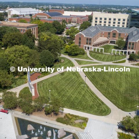 Aerial views of City Campus. August 20, 2019. Photo by Craig Chandler / University Communication.