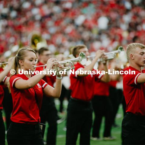 "Big Red Welcome week featured the Cornhusker Marching Band Exhibition where they showed highlights of what the band has been working on during their pre-season Band Camp, including their famous ""drill down"". August 23, 2019. Photo by Justin Mohling / University Communication."