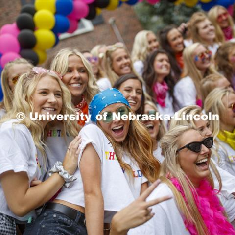 New Kappa Alpha Theta members celebrate outside their sorority. Sorority Bid Day. August 24, 2019. Photo by Craig Chandler / University Communication.