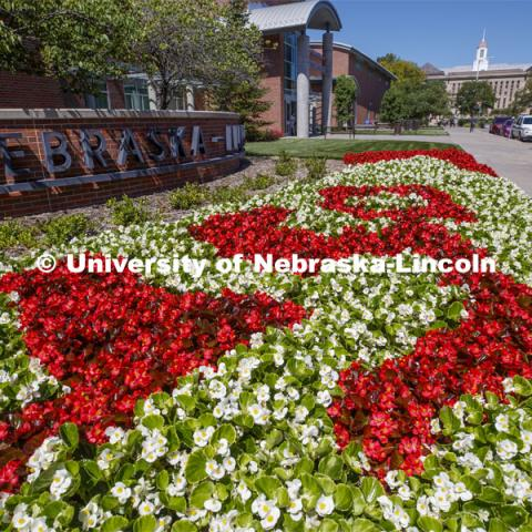 Flowers outside the Visitors Center on City Campus spell out the N150 logo. August 28, 2019. Photo by Craig Chandler / University Communication.