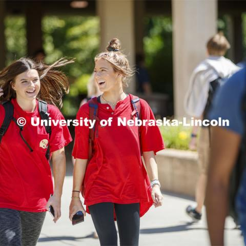 Sophomores Abbey Schiemann and McKena Roubicek talk Wednesday afternoon while heading to their chemistry lab in Hamilton Hall on City Campus. August 28, 2019. Photo by Craig Chandler / University Communication.