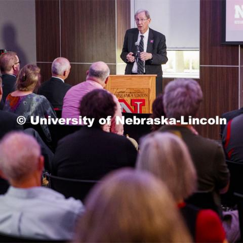 Jim Lewis discusses Nebraska's partnership with Southeast Community College and Western Nebraska Community College to build out the state's STEM workforce through a new grant, STEM Career Opportunities in Nebraska: Networks, Experiential-learning and Computational Thinking. August 30, 2019. Photo by Craig Chandler / University Communication.