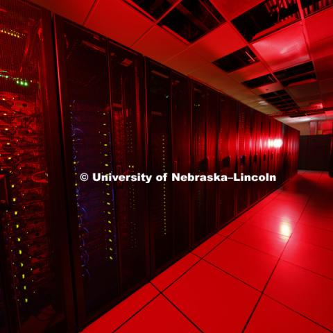 Supercomputers Red and Sand Hills in the Schorr Center. September 8, 2016. Photo by Craig Chandler / University Communication Photography.