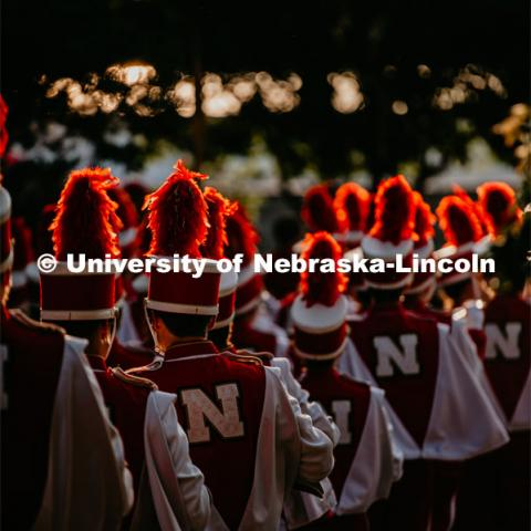 Cornhusker Marching Band trumpet section during march down. Nebraska vs. Northern Illinois football game. September 14, 2019. Photo by Justin Mohling / University Communication.