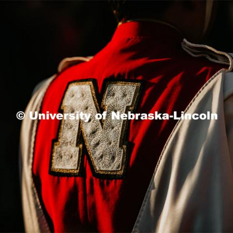 Back of Cornhusker Marching Band uniform. Nebraska vs. Northern Illinois football game. September 14, 2019. Photo by Justin Mohling / University Communication.