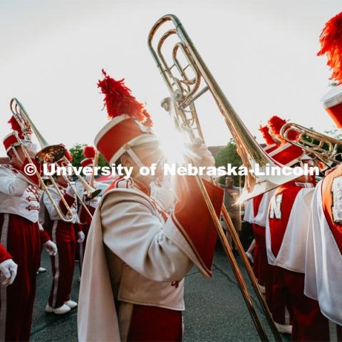 "Cornhusker Marching Band trombones singing ""band song"". Nebraska vs. Northern Illinois football game. September 14, 2019. Photo by Justin Mohling / University Communication."