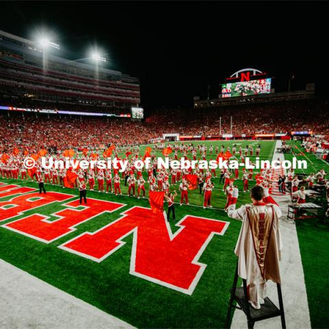 Cornhusker Marching Band playing to student section. Nebraska vs. Northern Illinois football game. September 14, 2019. Photo by Justin Mohling / University Communication.