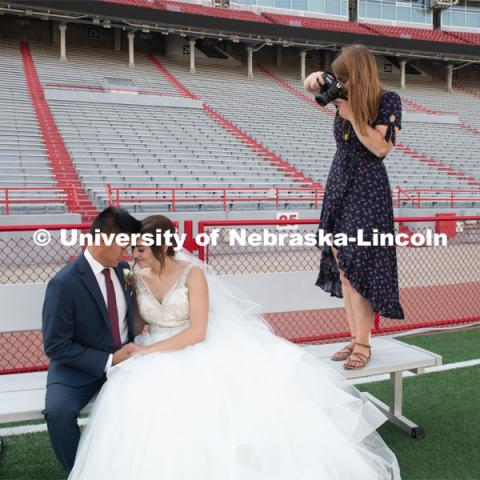 Homecoming week is a special time for Laura and Shayne Arriola. In 2017, the two were crowned homecoming king and queen, and Shayne proposed in front of 90,000 Husker fans. Two weeks ago, Laura and Shayne were married and celebrated their wedding with photos (taken by Brooke LaBenz Graham) at Memorial Stadium. September 21, 2019. Photo by Gregory Nathan / University Communication.