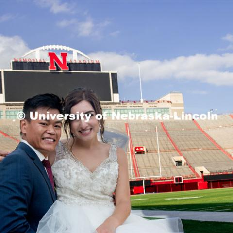 Homecoming week is a special time for Laura and Shayne Arriola. In 2017, the two were crowned homecoming king and queen, and Shayne proposed in front of 90,000 Husker fans. Two weeks ago, Laura and Shayne were married and celebrated their wedding with photos at Memorial Stadium. September 21, 2019. Photo by Gregory Nathan / University Communication.