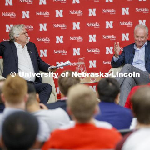 Jeff Raikes, co-founder of the Raikes Foundation, and Kevin Johnson, president and chief executive officer for Starbucks, talk Friday afternoon during a conversation in Hawks Hall. September 27, 2019. Photo by Craig Chandler / University Communication.