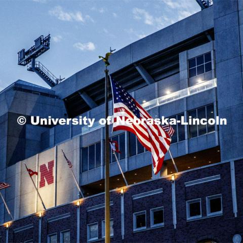 East side of Memorial Stadium at dusk. September 30, 2019. Photo by Craig Chandler / University Communication.