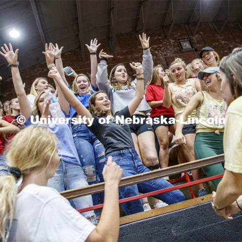 Chi Omega sorority members cheer before the performance. Showtime at the Coliseum performances as part of Homecoming week. September 30, 2019. Photo by Craig Chandler / University Communication.