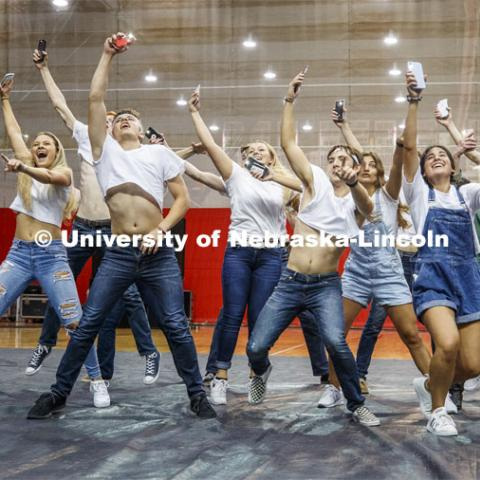 Triad 4--Phi Kappa Psi, Delta Gamma, Pi Kappa Alpha, Tau Kappa Alpha, Tau Kappa Epsilon, Sigma Alpha, Beta Sigma Psi, Sigma Nu--performs. Showtime at the Coliseum performances as part of Homecoming week. September 30, 2019. Photo by Craig Chandler / University Communication.