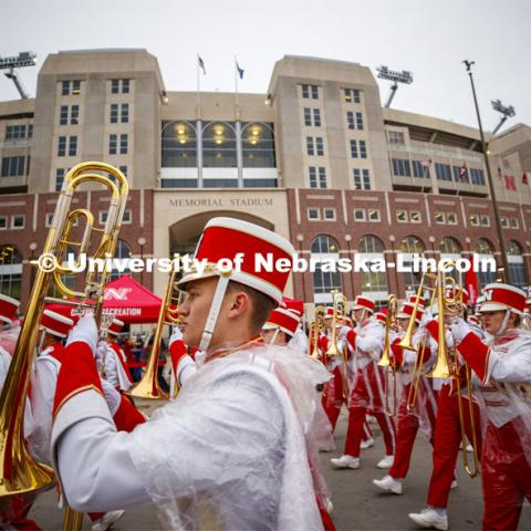 Cornhusker Marching Band parades past Memorial Stadium. Cornstock celebration and Homecoming Parade. October 4, 2019. Photo by Craig Chandler / University Communication.