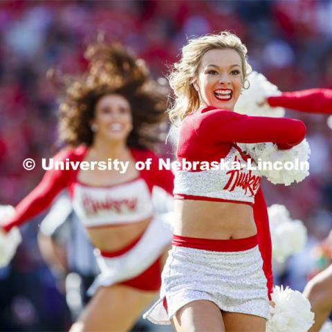 The Scarlet dance team performs in the second quarter of the Nebraska vs. Northwestern University football game. Homecoming 2019. October 5, 2019.  Photo by Craig Chandler / University Communication.