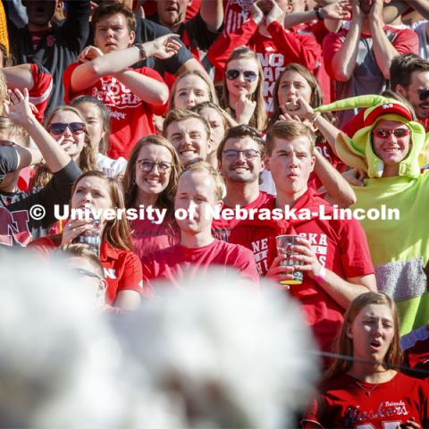 Student section at the Nebraska vs. Northwestern University football game. Homecoming 2019. October 5, 2019.  Photo by Craig Chandler / University Communication.