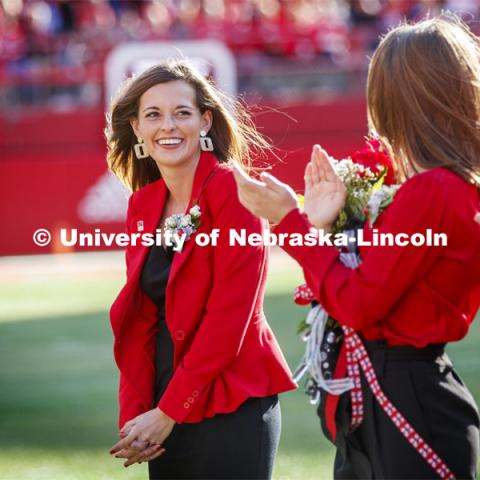 Senior Cheyenne Gerlach, homecoming royalty finalist, at the halftime ceremony of the Nebraska-Northwestern football game. Nebraska vs. Northwestern University football game. Homecoming 2019. October 5, 2019.  Photo by Craig Chandler / University Communication.