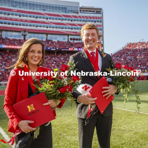 Seniors Cheyenne Gerlach and Bryce Lammers were crowned homecoming royalty during halftime of the Nebraska-Northwestern football game. Nebraska vs. Northwestern University football game. Homecoming 2019. October 5, 2019.  Photo by Craig Chandler / University Communication.