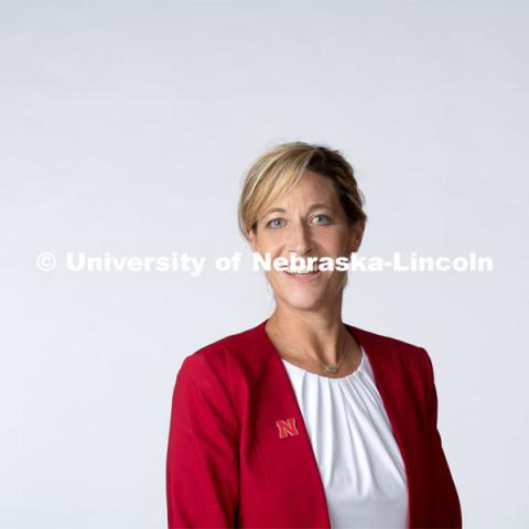 Studio portrait of Bev Schenkel, Associate Director, Office of Admissions. October 10, 2019. Photo by Greg Nathan / University Communication.