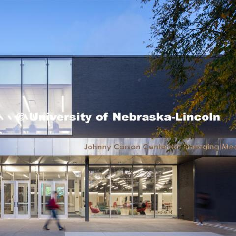 Building exterior. University of Nebraska - Johnny Carson Center for Emerging Media Arts. Photo courtesy of HDR © 2019 Dan Schwalm FOR USE ONLY ON UNL AND NU PUBLICATIONS AND WEBSITES. NOT TO BE GIVEN TO OUTSIDE GROUPS