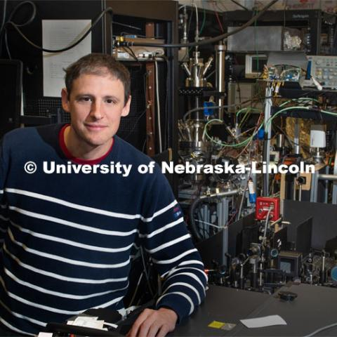 Nebraska's Martin Centurion has earned a $2 million U.S. Department of Energy grant to capture moving images of single molecules in chemical transformations triggered by light. Martin heads the Ultrafast Dynamics laboratory. October 16, 2019. Photo by Greg Nathan / University Communication