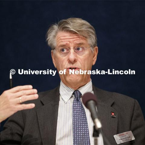 Frans von Der Dunk, Nebraska Law professor, talks during a panel on the Woomera Namual for military activities in outer space. Global Perspectives on Space Law and Policy conference in Washington D.C. October 18, 2019. 12th Annual University of Nebraska D.C. Space Law Conference. Space, Cyber and Telecommunications Law program. Photo by Craig Chandler / University Communication.