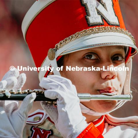 Cornhusker Marching Band perform at the Nebraska vs. Indiana University football game. October 26, 2019. Photo by Justin Mohling / University Communication.