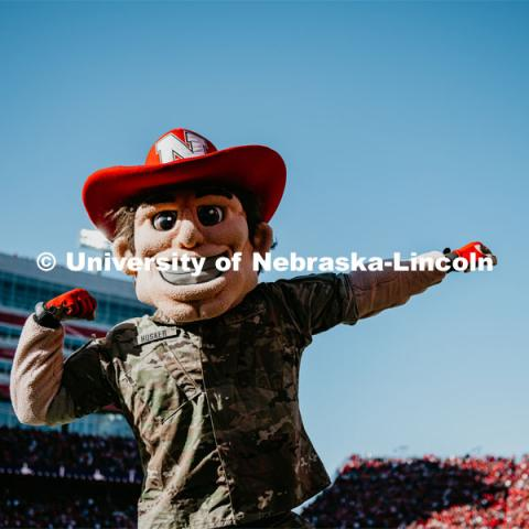Herbie Husker is decked out in military fatigues for the Nebraska vs. Indiana University football game. October 26, 2019. Photo by Justin Mohling / University Communication.