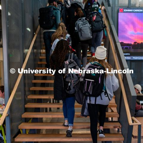 Students going up the stairs to their classes Johnny Carson School for Emerging Media Arts. November 12, 2019. Photo by Justin Mohling / University Communication.