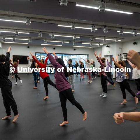Modern Dance Class at the Johnny Carson School for Emerging Media Arts. November 12, 2019. Photo by Justin Mohling / University Communication.