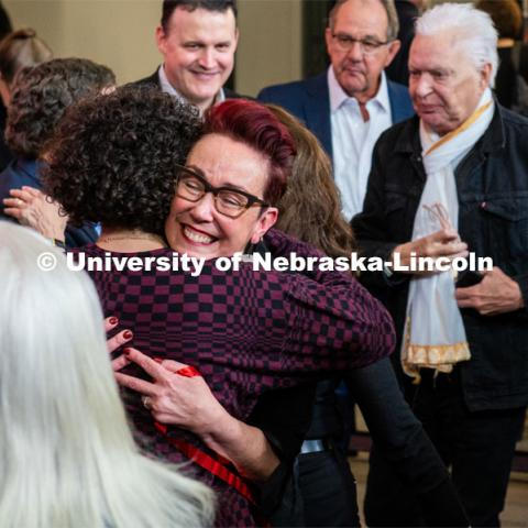 Megan Elliot gets a hug at the Carson dedication ceremony. Johnny Carson Center for Emerging Media Arts dedication weekend. November 17, 2019. Photo by Justin Mohling / University Communication.