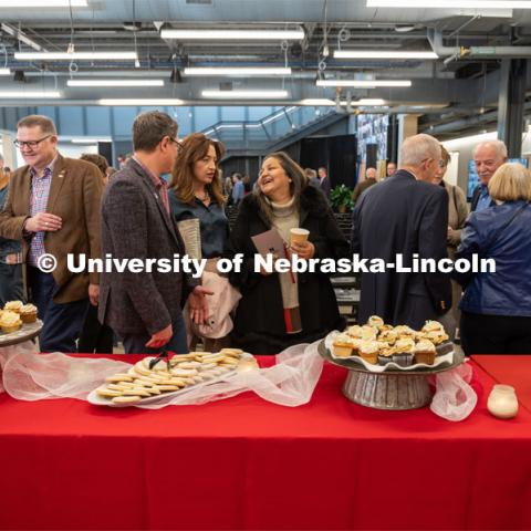 Visitors enjoy refreshments at the Carson dedication ceremony. Johnny Carson Center for Emerging Media Arts dedication weekend. November 17, 2019. Photo by Justin Mohling / University Communication.