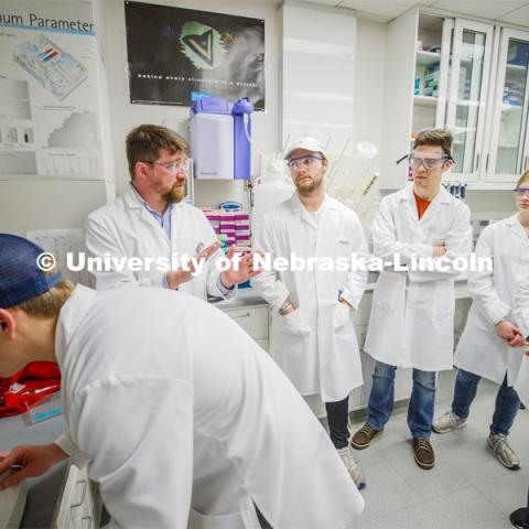 Mark Wilson, Associate Professor, Department of Biochemistry / Redox Biology Center describes crystal growths in BIOC 433H - Honors: Inquiry-based Biochemistry Laboratory. November 19, 2019. Photo by Craig Chandler / University Communication.