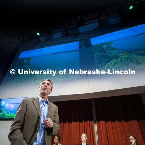 Craig Allen, Andrea Basche and Michael Forsberg present the Heuermann Lecture,  Nebraska: An Ecosystem in Harmony. In order to meet the global demand for food, fuel, feed and fiber agricultural production must increase by more than 70% by 2050. Reaching this goal will require a more efficient use of marginal lands, extensive growth in agriculture and new methods to deal with extreme weather, soil degradation and biological invasions. November 25, 2019. Photo by Craig Chandler / University Communication.