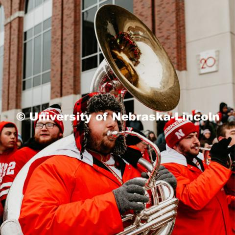 Sousaphone player Nathan McGahan at the Unity Walk. Nebraska vs. Iowa State University football game. November 29, 2019. Photo by Justin Mohling / University Communication.