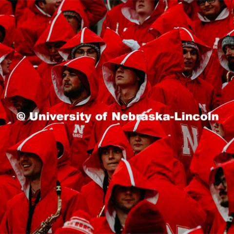 Husker Marching Band in their coats. Nebraska vs. Iowa State University football game. November 29, 2019. Photo by Justin Mohling / University Communication.