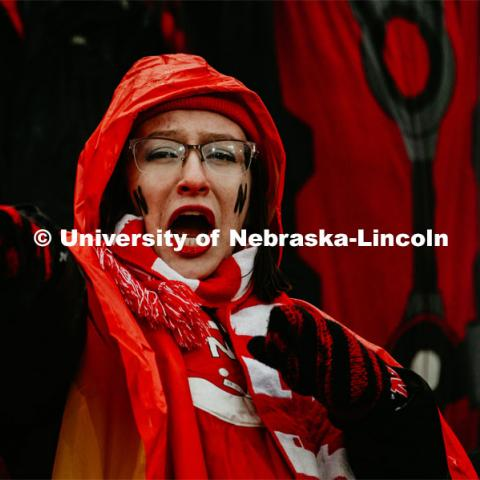 Student cheering on the crowd. Nebraska vs. Iowa State University football game. November 29, 2019. Photo by Justin Mohling / University Communication.