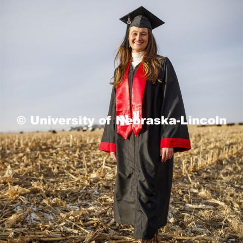 Natalie Jones, a fifth-generation Nebraska rancher from Stapleton, NE, and third-generation University of Nebraska-Lincoln grad, will start her next chapter from an office in Agricultural Hall as a media specialist. Natalie will graduate with a degree in Agriculture and Environmental Science Communication. December 11, 2019. Photo by Craig Chandler / University Communication.