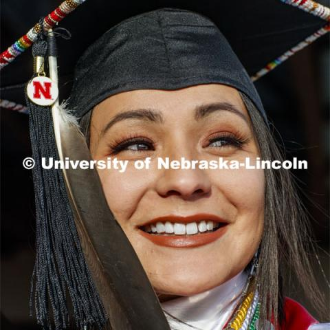 In celebration of commencement, Angelica Solomon's regalia will include a hand-beaded design and an eagle feather. She is one of nearly 1,400 Huskers who will receive degrees during graduation exercises on Dec. 20-21. December 12, 2019. Photo by Craig Chandler / University Communication.