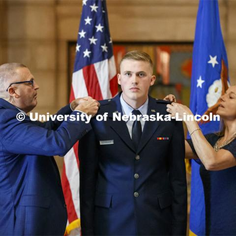 Trey Alexander of Hastings was commissioned a second lieutenant in the U.S. Air Force during a Dec. 20 ceremony in the State Capitol Rotunda. December 20, 2019. Photo by Craig Chandler / University Communication.