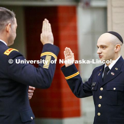 Jared Polack of Omaha was commissioned a second lieutenant in the U.S. Army during a Dec. 20 ceremony in Memorial Stadium. December 20, 2019. Photo by Craig Chandler / University Communication.