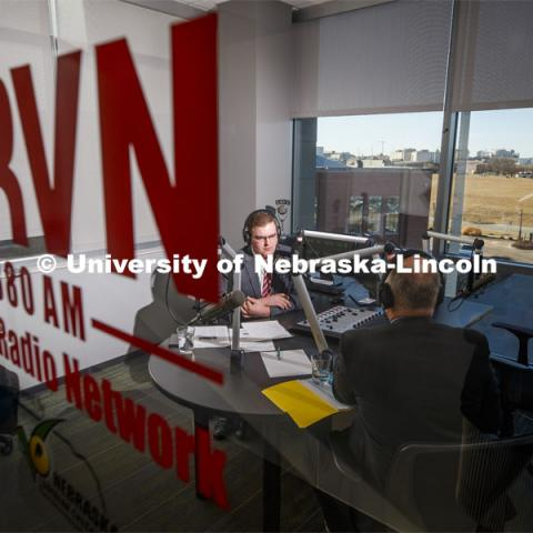 Bryce Doeschot at KRVN for the Nebraska Innovation Campus partners page. January 7, 2020. Photo by Craig Chandler / University Communication