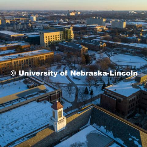 Early morning light on a snowy cold day. January 21, 2020. Photo by Craig Chandler / University Communication.
