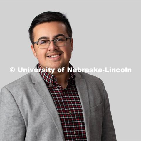 Studio portrait of Edgar Estrada, NSE Orientation Leader. January 23, 2020. Photo by Greg Nathan, University Communication.