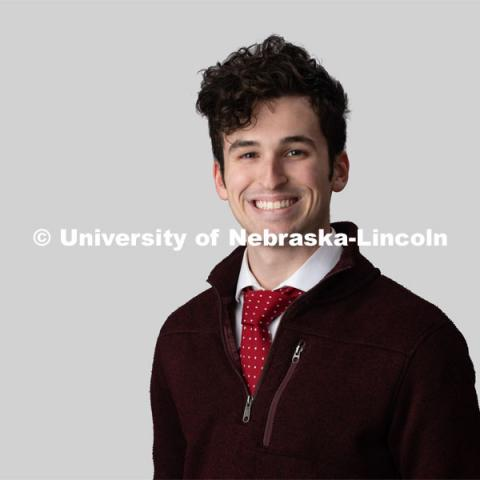 Studio portrait of Liam Diesing, NSE Orientation Leader. January 24, 2020. Photo by Greg Nathan, University Communication.