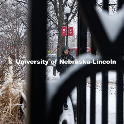 Snow on UNL's City Campus. February 5, 2020. Photo by Gregory Nathan / University Communication.