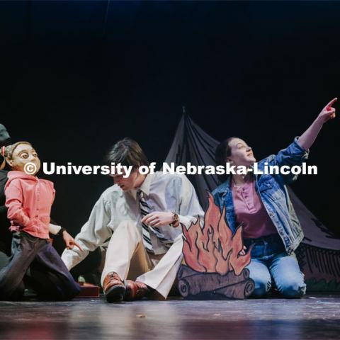 "Nebraska Repertory Theatre's production of ""A Thousand Words"". The original play by students in a course led by Andy Park, the Rep's artistic director, features more than 100 large-scale puppets. The grandpa character features two puppeteers, with Actor Philip Crawford (in black morph suit), controlling the main body and left arm, and Matt Blom, a sophomore theatre arts major, operating the right arm. Performances are Feb. 14-23 in the Temple Building's Howell Theatre. February 19, 2020. Photo by Justin Mohling / University Communication."