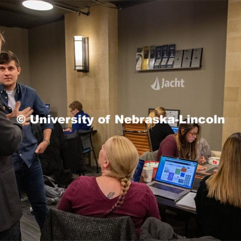 Jacht students work in the agency's Haymarket office space. February 19, 2020. Photo by Greg Nathan / University Communication.